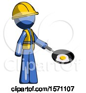 Blue Construction Worker Contractor Man Frying Egg In Pan Or Wok Facing Right