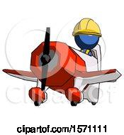 Blue Construction Worker Contractor Man Flying In Geebee Stunt Plane Viewed From Below