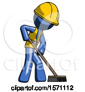 Blue Construction Worker Contractor Man Cleaning Services Janitor Sweeping Side View