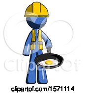 Blue Construction Worker Contractor Man Frying Egg In Pan Or Wok