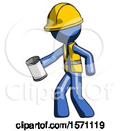 Blue Construction Worker Contractor Man Begger Holding Can Begging Or Asking For Charity Facing Left