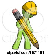 Green Construction Worker Contractor Man Writing With Large Pencil