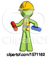 Green Construction Worker Contractor Man Red Pill Or Blue Pill Concept