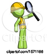 Green Construction Worker Contractor Man Inspecting With Large Magnifying Glass Facing Up