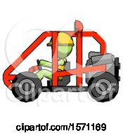 Green Construction Worker Contractor Man Riding Sports Buggy Side View