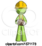 Green Construction Worker Contractor Man Giving Football To You