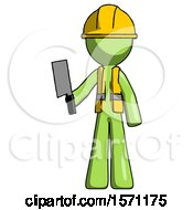 Green Construction Worker Contractor Man Holding Meat Cleaver