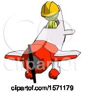 Green Construction Worker Contractor Man In Geebee Stunt Plane Descending Front Angle View