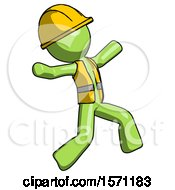 Green Construction Worker Contractor Man Running Away In Hysterical Panic Direction Right