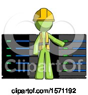 Green Construction Worker Contractor Man With Server Racks In Front Of Two Networked Systems
