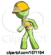 Green Construction Worker Contractor Man Suspense Action Pose Facing Left