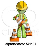 Green Construction Worker Contractor Man Holding A Traffic Cone