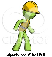 Green Construction Worker Contractor Man Suspense Action Pose Facing Right