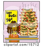 Hungry Woman Standing By A Huge Pile Of Hotdogs