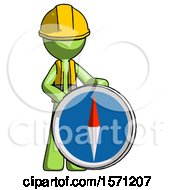 Green Construction Worker Contractor Man Standing Beside Large Compass