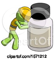 Green Construction Worker Contractor Man Pushing Large Medicine Bottle