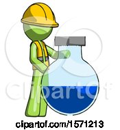 Green Construction Worker Contractor Man Standing Beside Large Round Flask Or Beaker