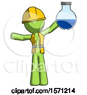 Green Construction Worker Contractor Man Holding Large Round Flask Or Beaker