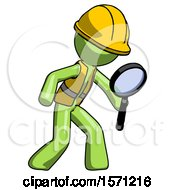 Green Construction Worker Contractor Man Inspecting With Large Magnifying Glass Right