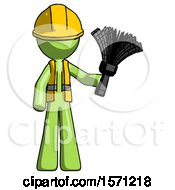Green Construction Worker Contractor Man Holding Feather Duster Facing Forward