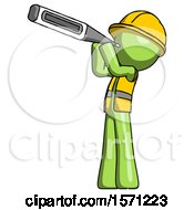 Green Construction Worker Contractor Man Thermometer In Mouth