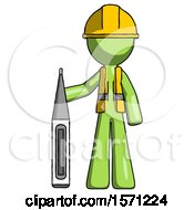 Green Construction Worker Contractor Man Standing With Large Thermometer