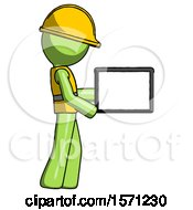 Green Construction Worker Contractor Man Show Tablet Device Computer To Viewer Blank Area