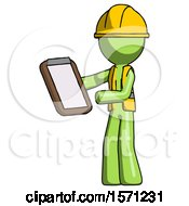 Green Construction Worker Contractor Man Reviewing Stuff On Clipboard