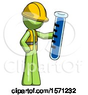 Green Construction Worker Contractor Man Holding Large Test Tube