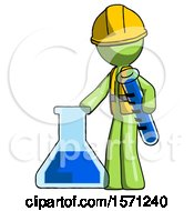 Green Construction Worker Contractor Man Holding Test Tube Beside Beaker Or Flask