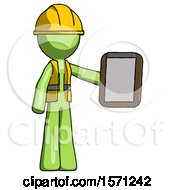 Green Construction Worker Contractor Man Showing Clipboard To Viewer