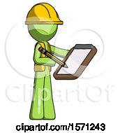 Green Construction Worker Contractor Man Using Clipboard And Pencil