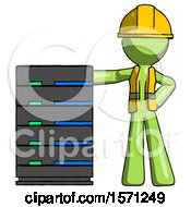 Green Construction Worker Contractor Man With Server Rack Leaning Confidently Against It