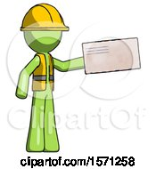 Green Construction Worker Contractor Man Holding Large Envelope