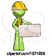 Green Construction Worker Contractor Man Presenting Large Envelope