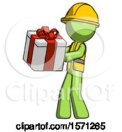 Green Construction Worker Contractor Man Presenting A Present With Large Red Bow On It