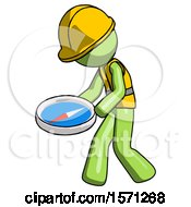 Green Construction Worker Contractor Man Walking With Large Compass
