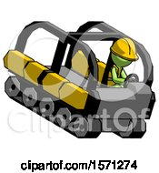 Green Construction Worker Contractor Man Driving Amphibious Tracked Vehicle Top Angle View