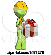 Green Construction Worker Contractor Man Giving A Present