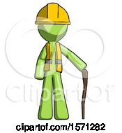 Green Construction Worker Contractor Man Standing With Hiking Stick