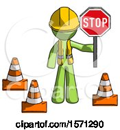 Green Construction Worker Contractor Man Holding Stop Sign By Traffic Cones Under Construction Concept