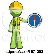 Green Construction Worker Contractor Man Holding A Large Compass