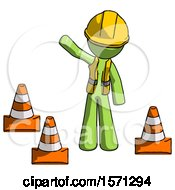 Green Construction Worker Contractor Man Standing By Traffic Cones Waving