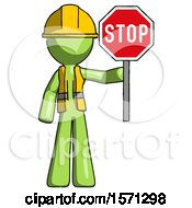 Green Construction Worker Contractor Man Holding Stop Sign