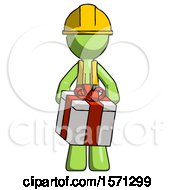 Green Construction Worker Contractor Man Gifting Present With Large Bow Front View