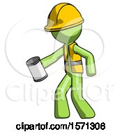 Green Construction Worker Contractor Man Begger Holding Can Begging Or Asking For Charity Facing Left