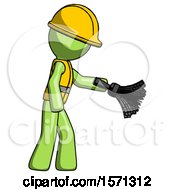 Green Construction Worker Contractor Man Dusting With Feather Duster Downwards