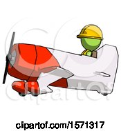 Green Construction Worker Contractor Man In Geebee Stunt Aircraft Side View
