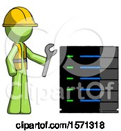 Green Construction Worker Contractor Man Server Administrator Doing Repairs