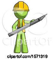Green Construction Worker Contractor Man Holding Large Scalpel